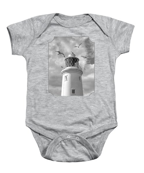 Fly Past - Seagulls Round Southwold Lighthouse In Black And White Baby Onesie by Gill Billington