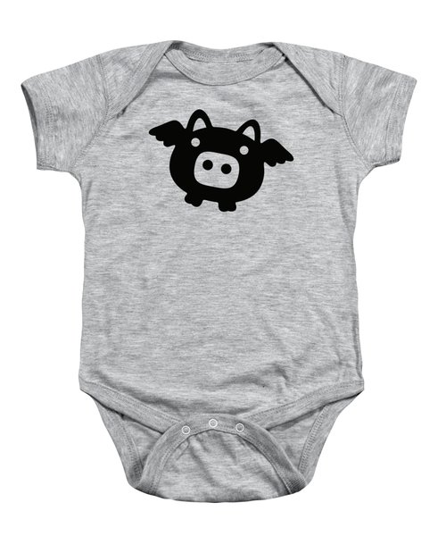 Flying Pig - Black Baby Onesie