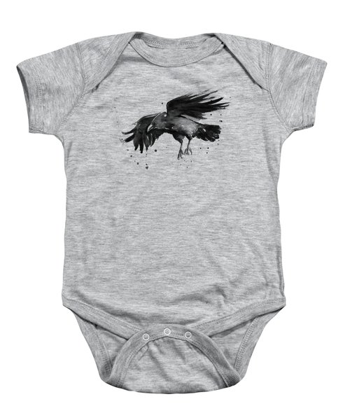 Flying Raven Watercolor Baby Onesie by Olga Shvartsur