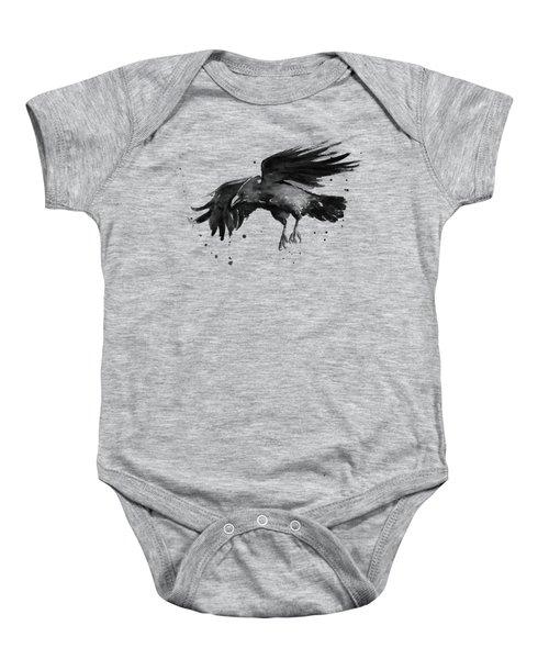 Flying Raven Watercolor Baby Onesie