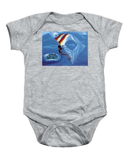Flying Windsurfer Baby Onesie