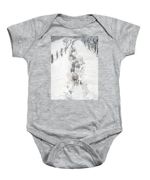 Follow The Flock Baby Onesie