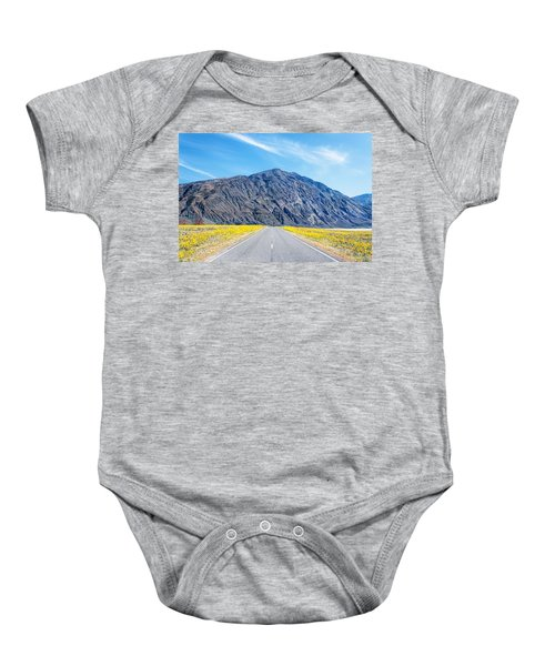 Follow The Yellow Lined Road Baby Onesie