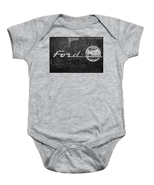 Ford F-100 Emblem On A Rusted Hood Baby Onesie