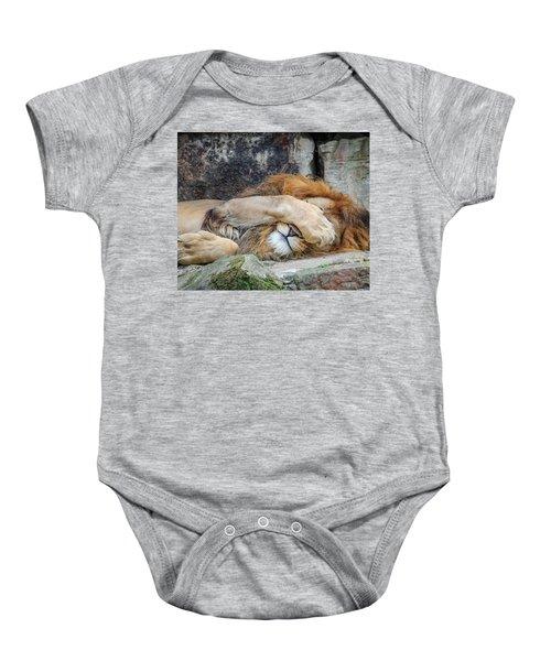 Fort Worth Zoo Sleepy Lion Baby Onesie