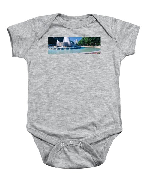Fountain And Us Capitol Building Baby Onesie by Panoramic Images