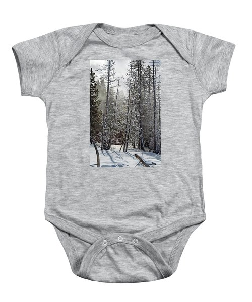 Fountain Paint Pots Shrouded In Snow And Ice Baby Onesie