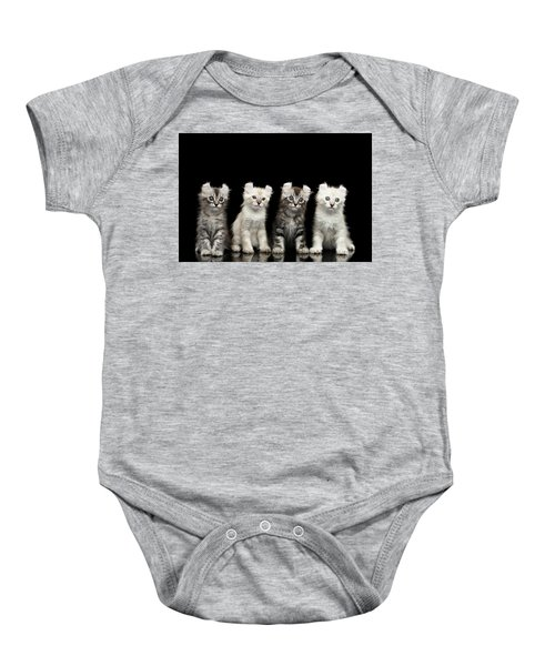 Four American Curl Kittens With Twisted Ears Isolated Black Background Baby Onesie