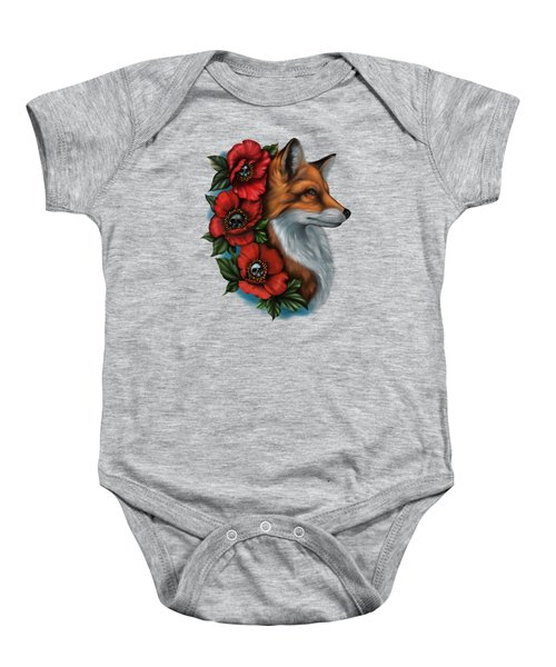 Fox And Poppies Baby Onesie