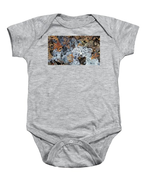 Fractured Ice Among Fall Leaves Baby Onesie