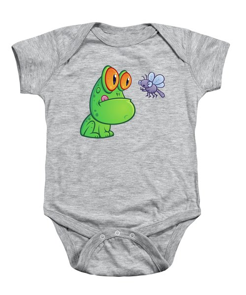 Frog And Dragonfly Baby Onesie by John Schwegel