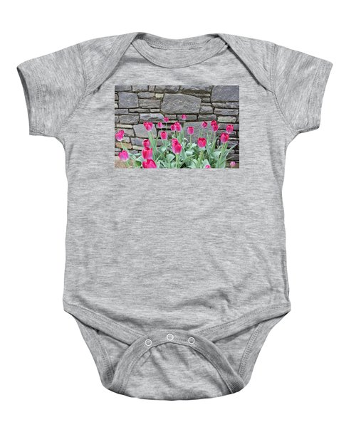 Fuchsia Color Tulips Baby Onesie