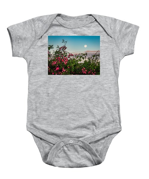 Baby Onesie featuring the photograph Full Moon Sets Over Wild Irish Roses In County Clare by James Truett