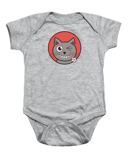 Funny Winking Cartoon Kitty Cat Baby Onesie by Boriana Giormova