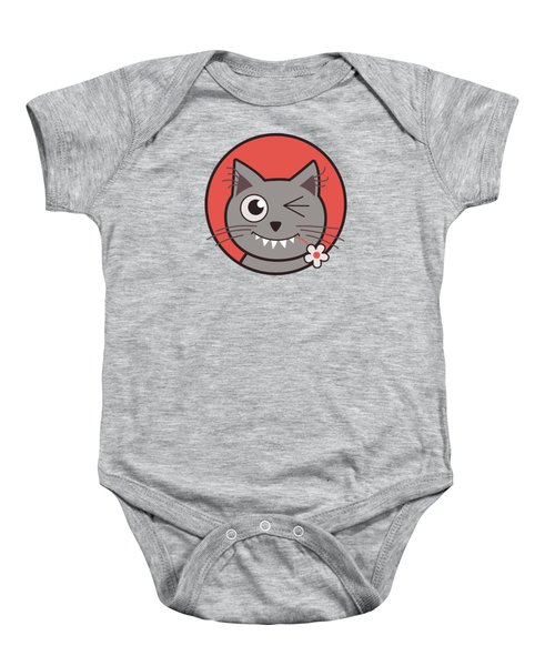 Funny Winking Cartoon Kitty Cat Baby Onesie