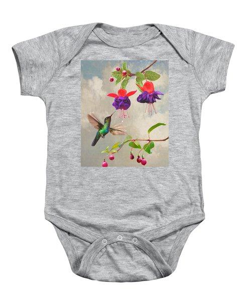 Fuchsia And Hummingbird Baby Onesie