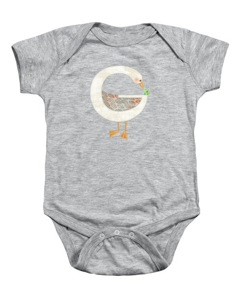 G Is For Goose And Grasshopper Baby Onesie by Valerie Drake Lesiak