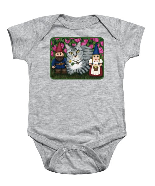 Garden Friends - Tabby Cat And Gnomes Baby Onesie