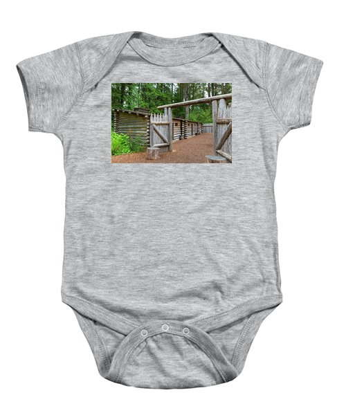 Gate To Log Camp At Fort Clatsop Baby Onesie