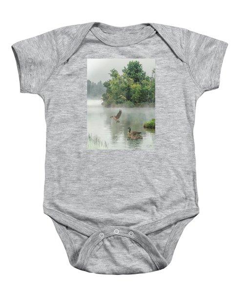 Geese On Misty Lake Baby Onesie