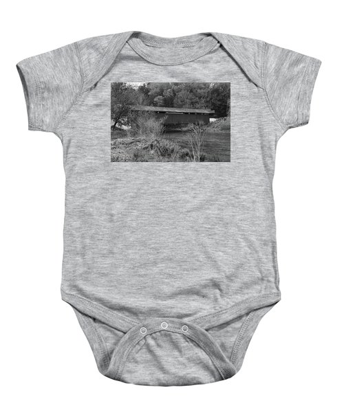 Baby Onesie featuring the photograph Geiger Covered Bridge B/w by Jennifer Ancker