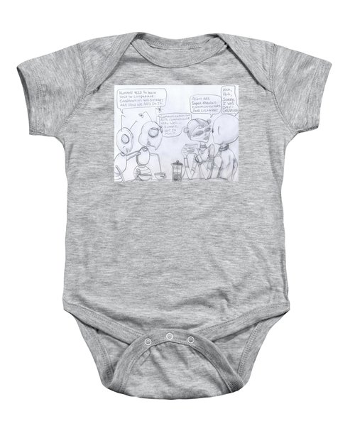 Giant Space Ants And Aliens Drink Coffee And Discuss Humans. Baby Onesie