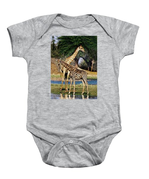 Giraffe Mother And Calf Baby Onesie
