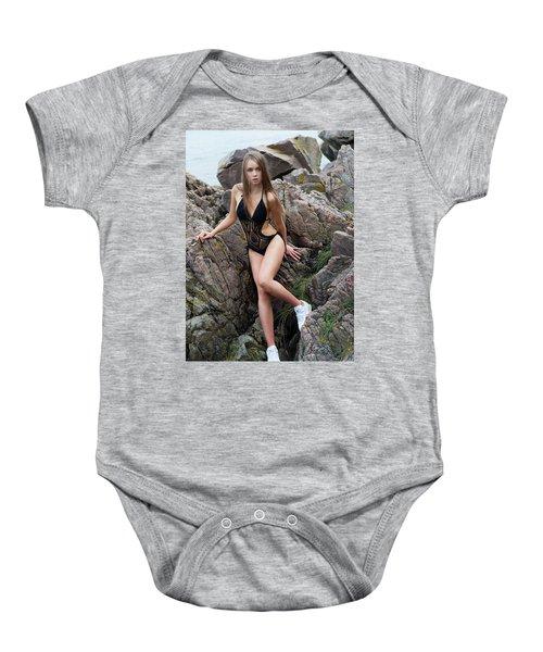 Girl In Black Swimsuit Baby Onesie