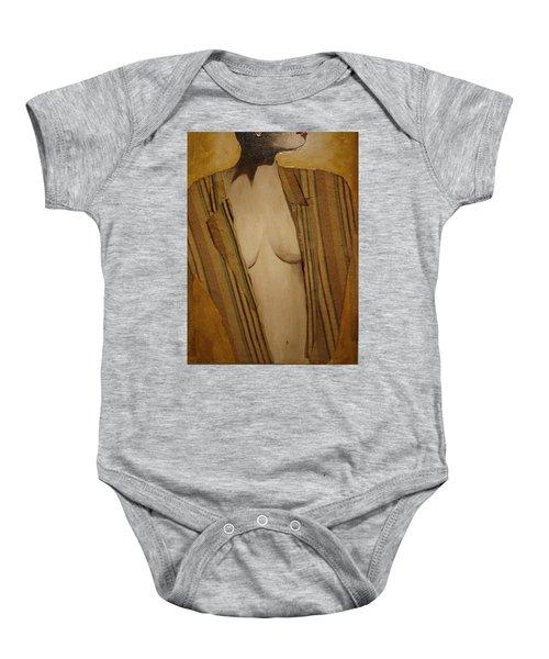 Girl In Man's Shirt Baby Onesie