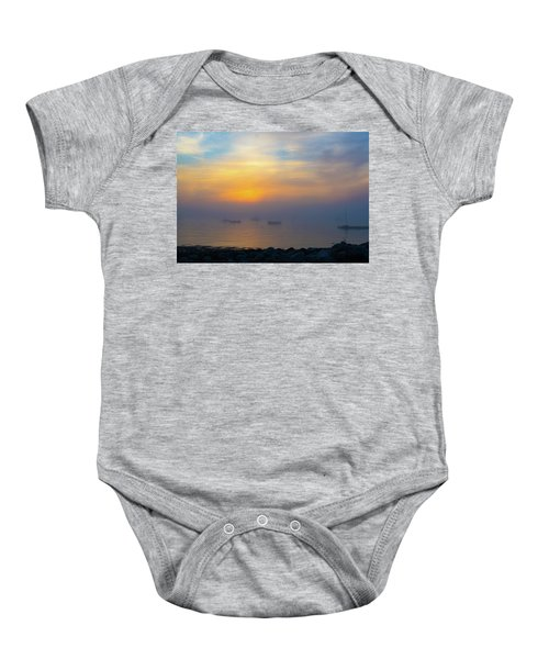 Gloucester Harbor Foggy Sunset Baby Onesie