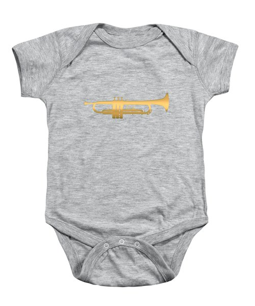 Gold Embossed Trumpet On Light Lavender Background Baby Onesie