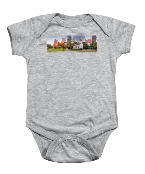 Golden Hour Fall Panorama Of Downtown Houston And St. John Church At Sam Houston Park - Texas Baby Onesie