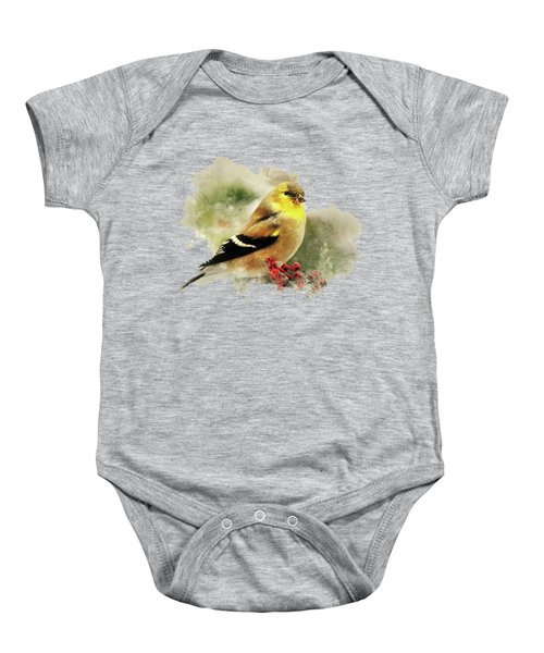 Goldfinch Watercolor Art Baby Onesie