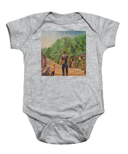 Gone Fishing With Dad Baby Onesie