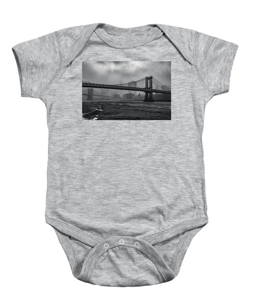 Manhattan Bridge In A Storm Baby Onesie