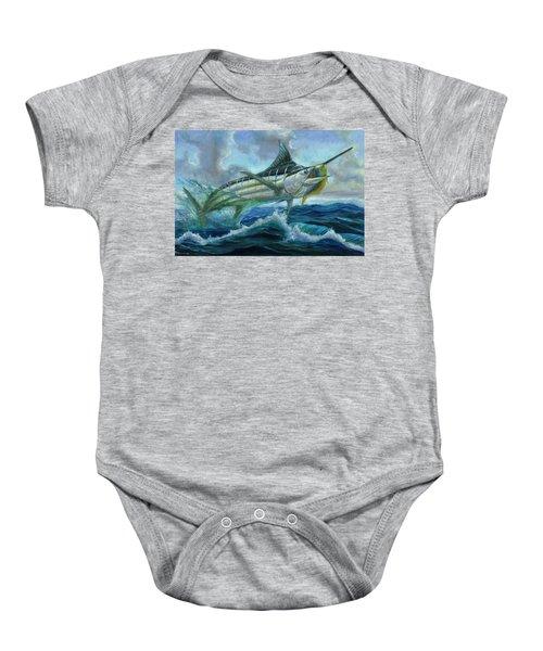 Grand Blue Marlin Jumping Eating Mahi Mahi Baby Onesie