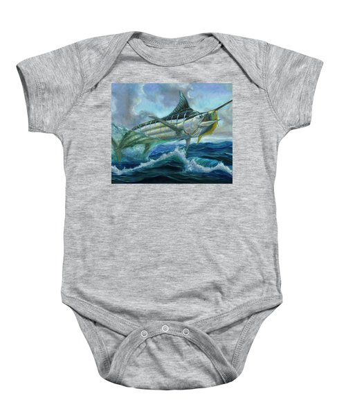 Grand Blue Marlin Jumping Eating Mahi Mahi Baby Onesie