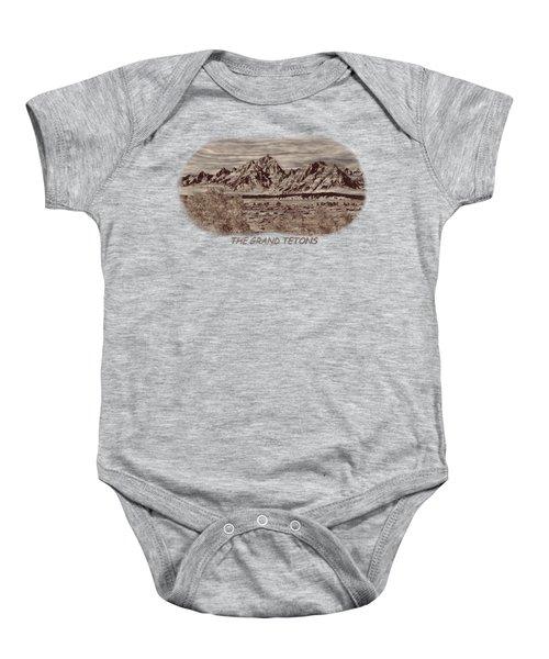 Grand Tetons Woodburning 2 Baby Onesie by John M Bailey