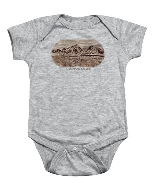 Grand Tetons Woodburning 2 Baby Onesie