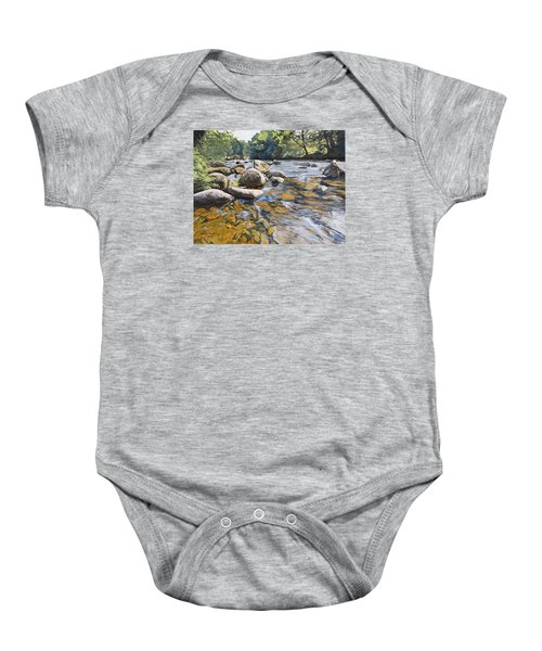 Baby Onesie featuring the painting Granite Boulders East Okement River by Lawrence Dyer
