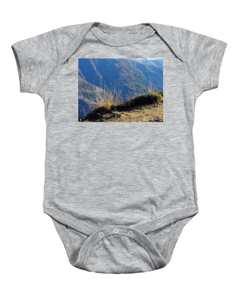 Grass In The Foreground, The Main Valley Of The Swiss Canton Of Valais In The Background Baby Onesie