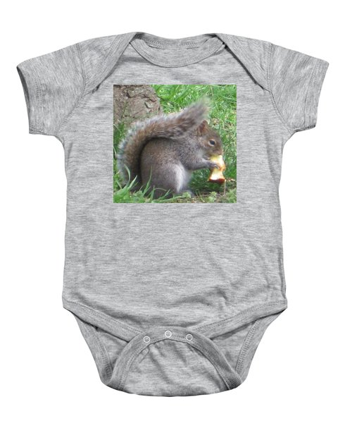Gray Squirrel With An Apple Core Baby Onesie