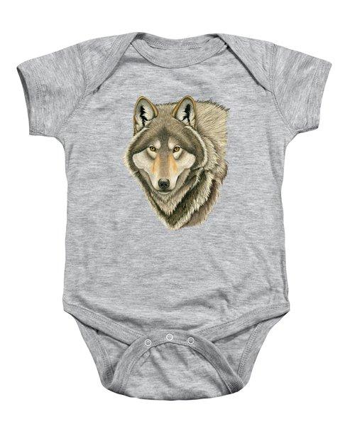 Gray Wolf Portrait Baby Onesie