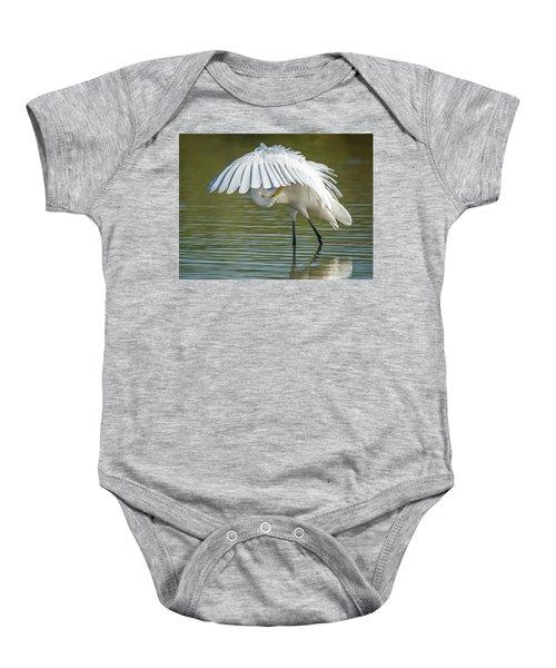 Great Egret Preening 8821-102317-2 Baby Onesie