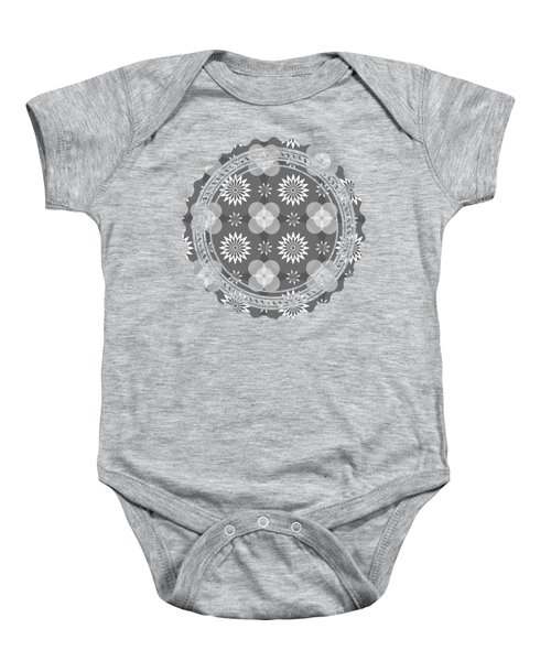 Grey Circles And Flowers Pattern Baby Onesie