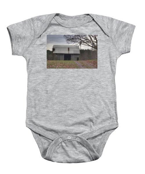 0014 - Grey Horse Barn Baby Onesie