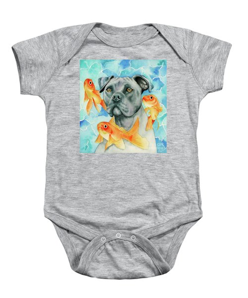 Guardian - Pit Bull Dog And Goldfishes Watercolor Painting Baby Onesie