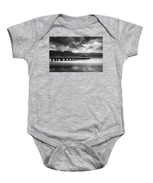 Hanalei Pier In Black And White Baby Onesie