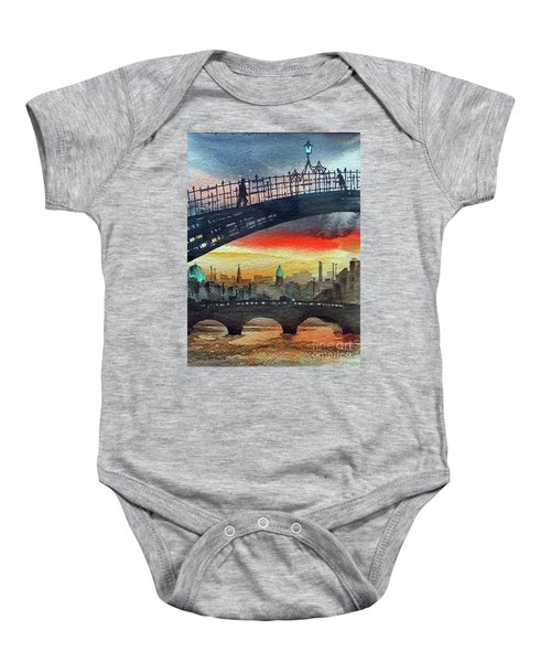 Hapenny Bridge Sunset, Dublin...27apr18 Baby Onesie