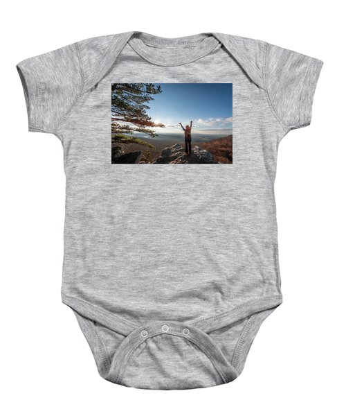 Happy Female Hiker At The Summit Of An Appalachian Mountain Baby Onesie